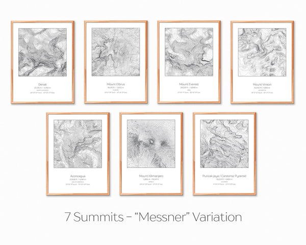 7 Summits, Messner Variation - 7 Prints - Topography Elevation Print Wall Art