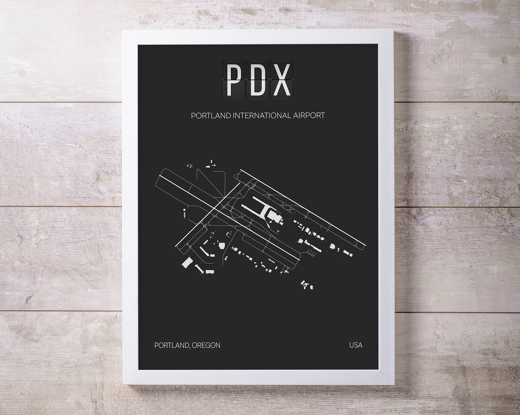 PDX Portland (Oregon) International Airport Print Map Wall Art