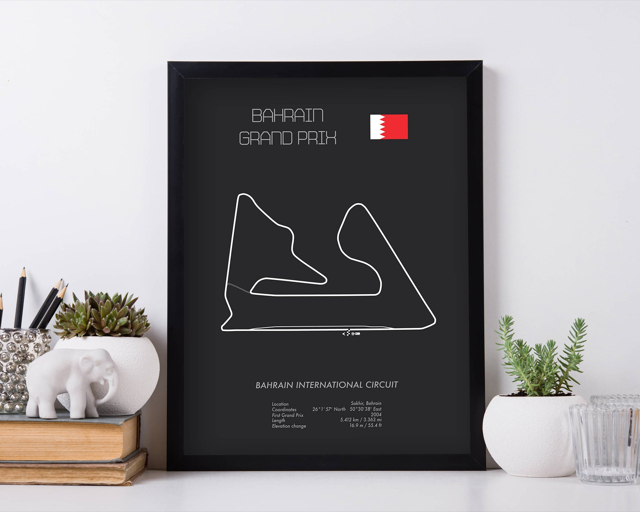 Formula One Bahrain Grand Prix Racing Map Wall Art Print