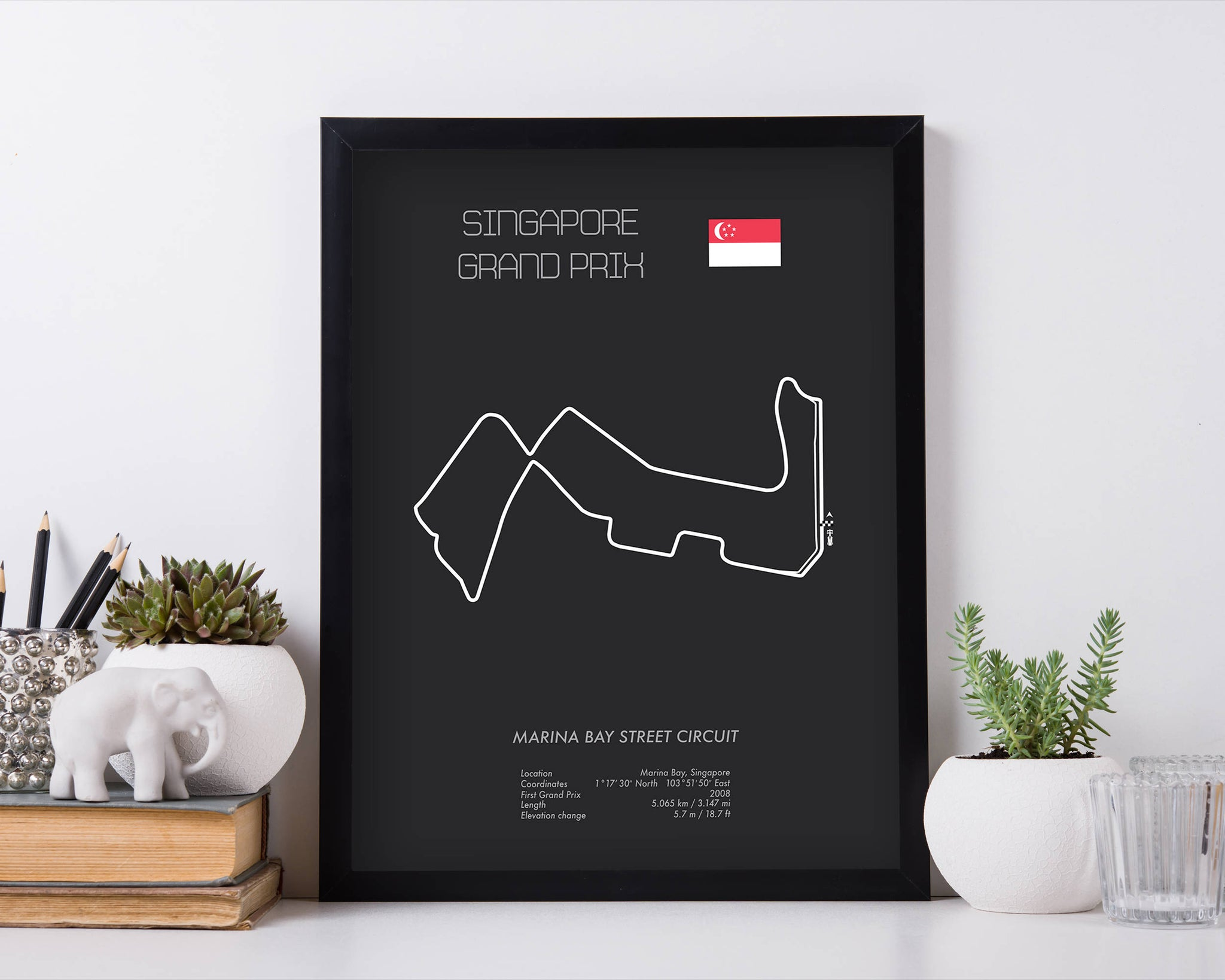 Formula One Singapore Grand Prix at Marina Bay Racing Map Wall Art Print