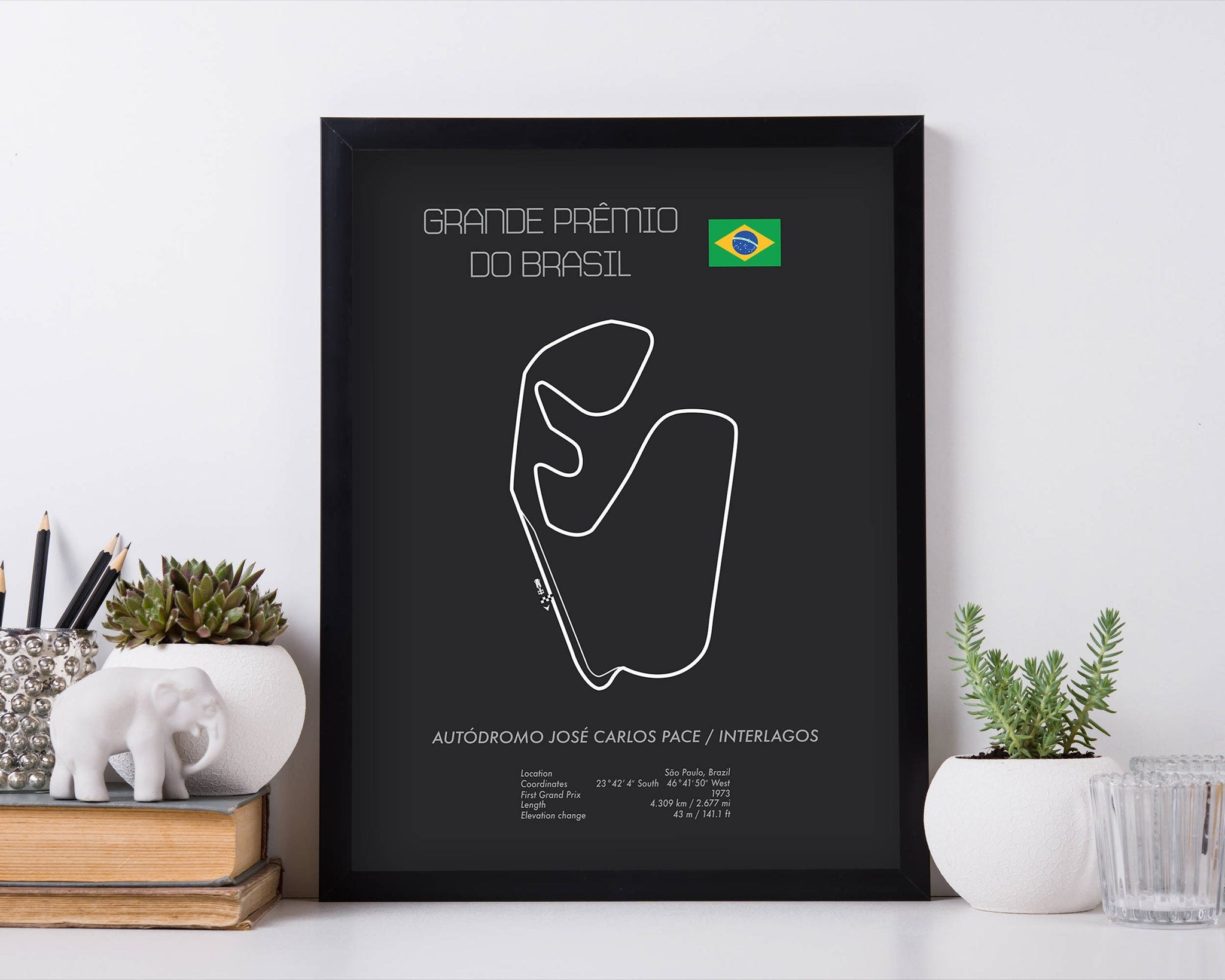 Formula One Brazil Grand Prix at Sao Paulo Interlagos Racing Map Wall Art Print