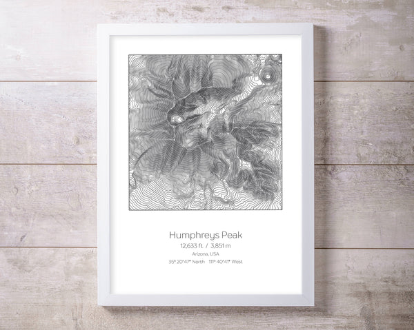 Humphreys Peak, Arizona Topography Elevation Print Wall Art