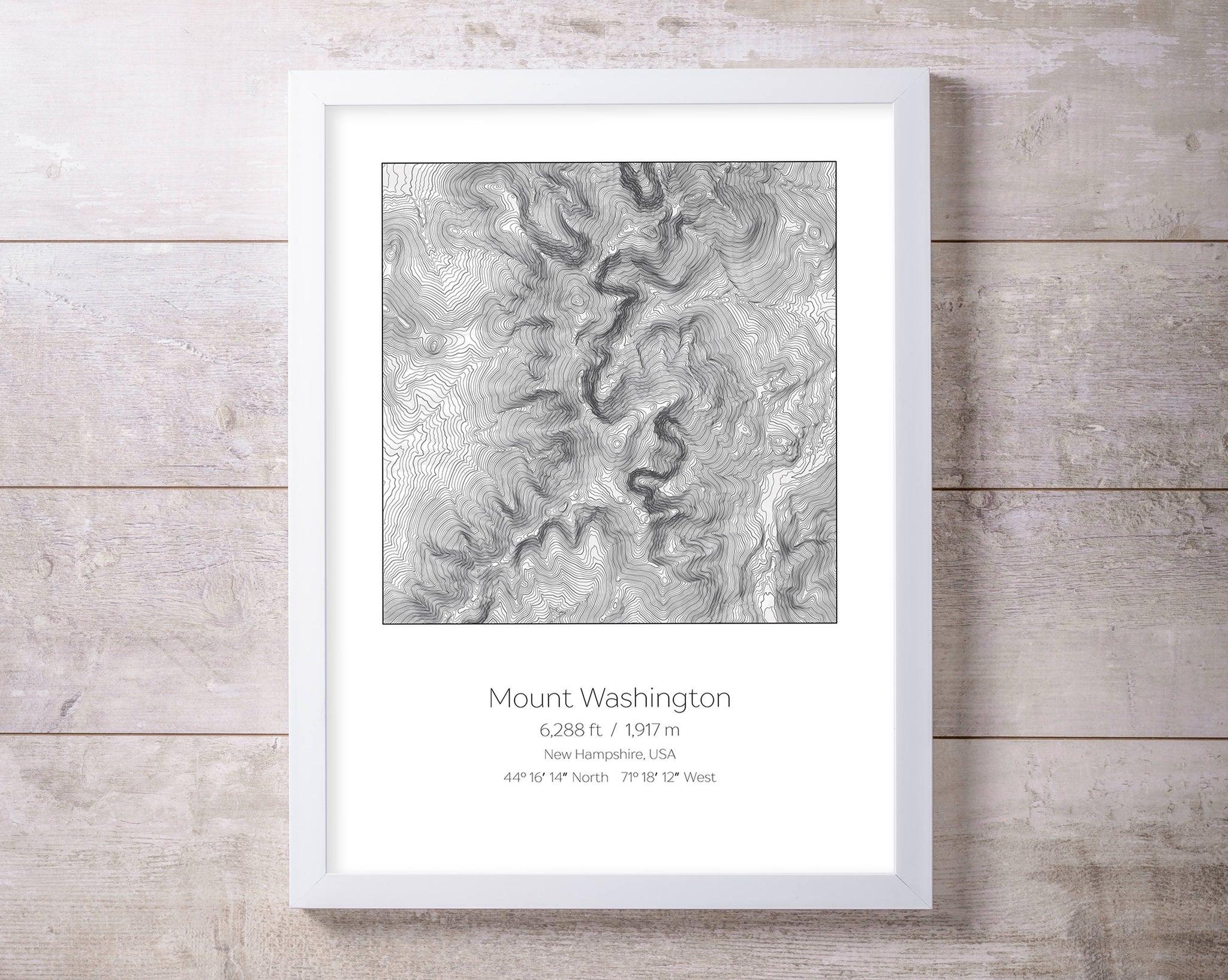 Mount Washington, New Hampshire Topography Elevation Print Wall Art