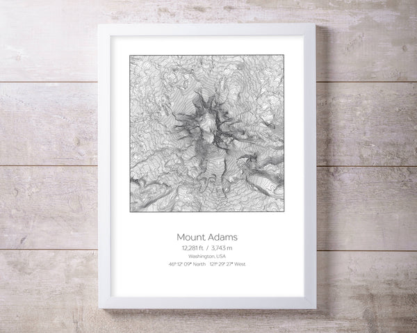 Mount Adams, Washington Topography Elevation Print Wall Art