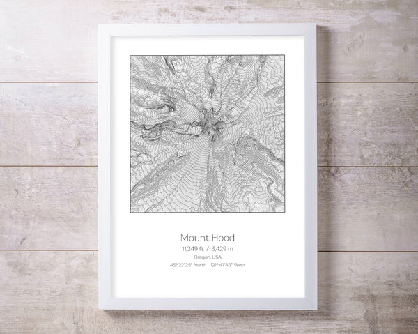 Mount Hood, Oregon Topography Elevation Print Wall Art