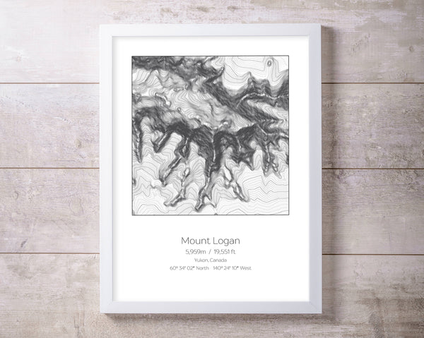 Mount Logan, Yukon, Canada Topography Elevation Print Wall Art