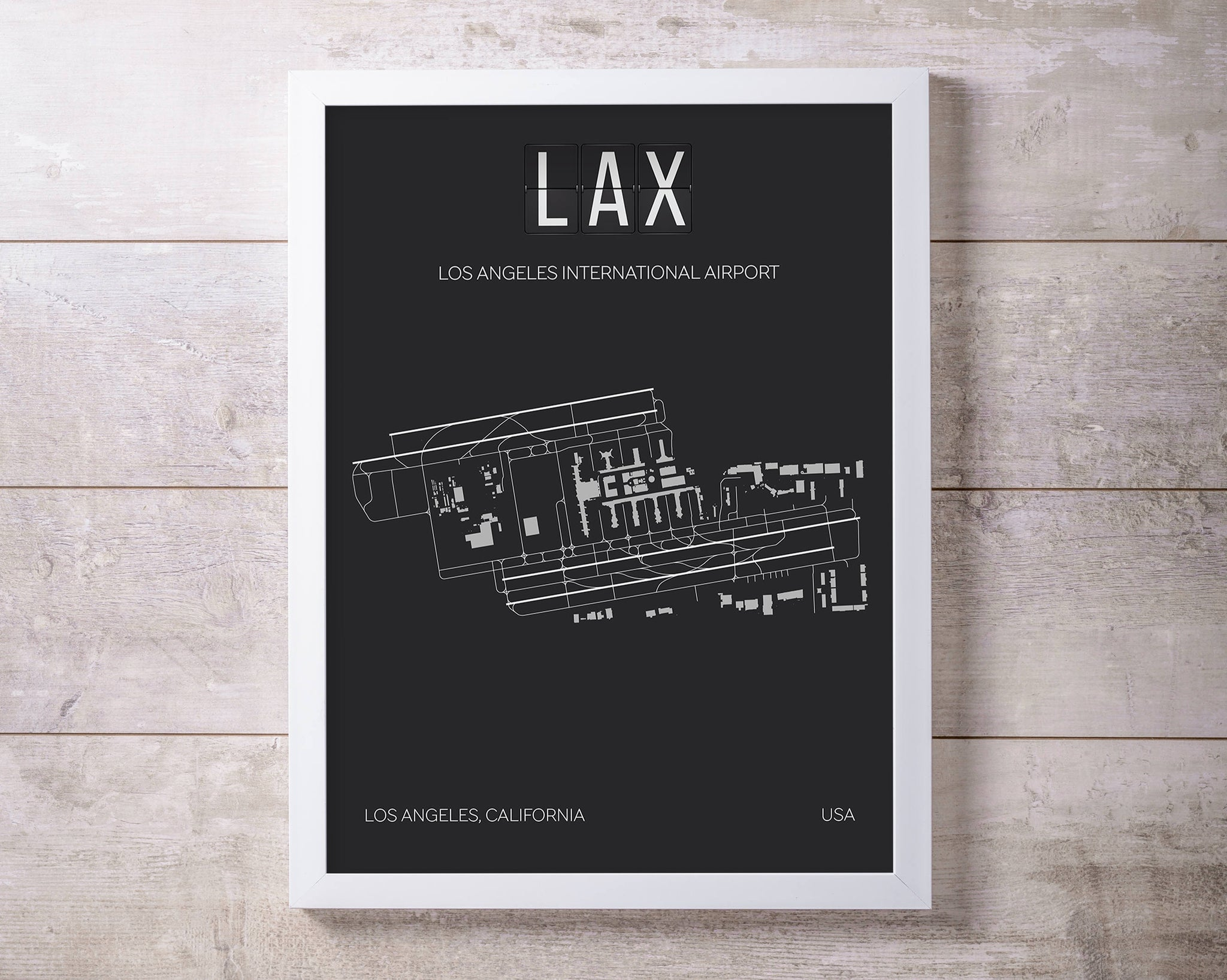 graphic about Printable Map of Los Angeles identify LAX Los Angeles Global Airport Print Map Wall Artwork
