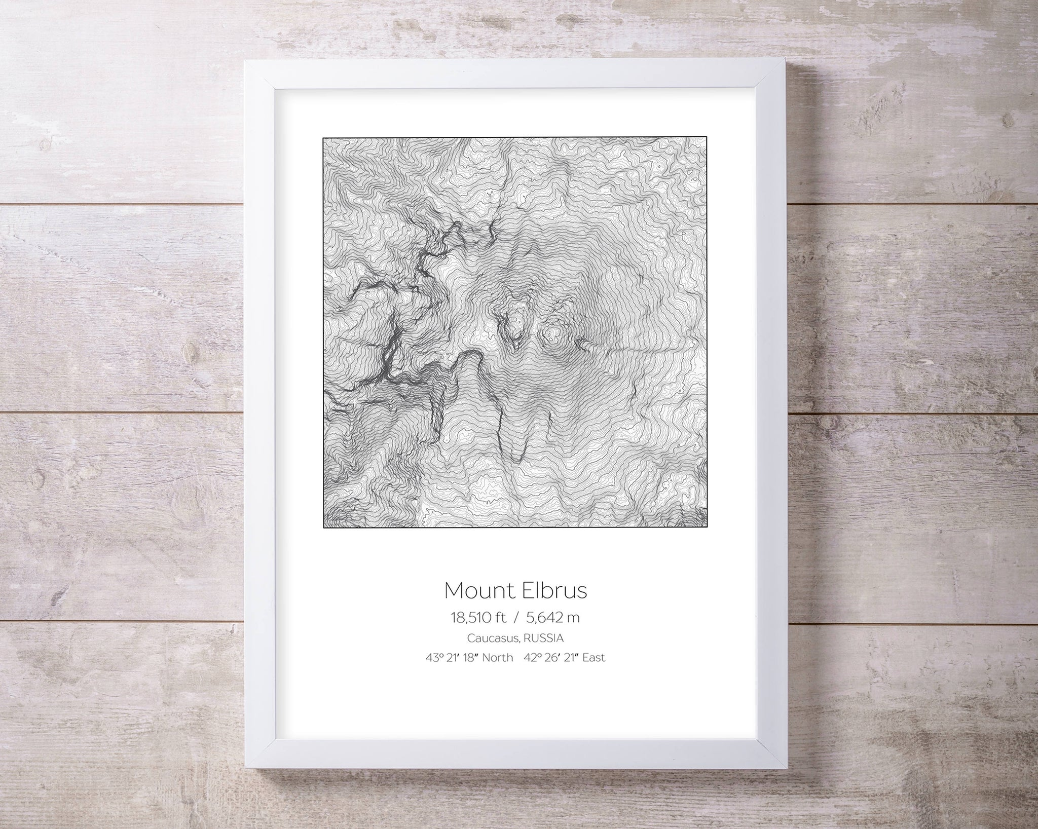 Mount Elbrus, Russia Topography Elevation Print Wall Art
