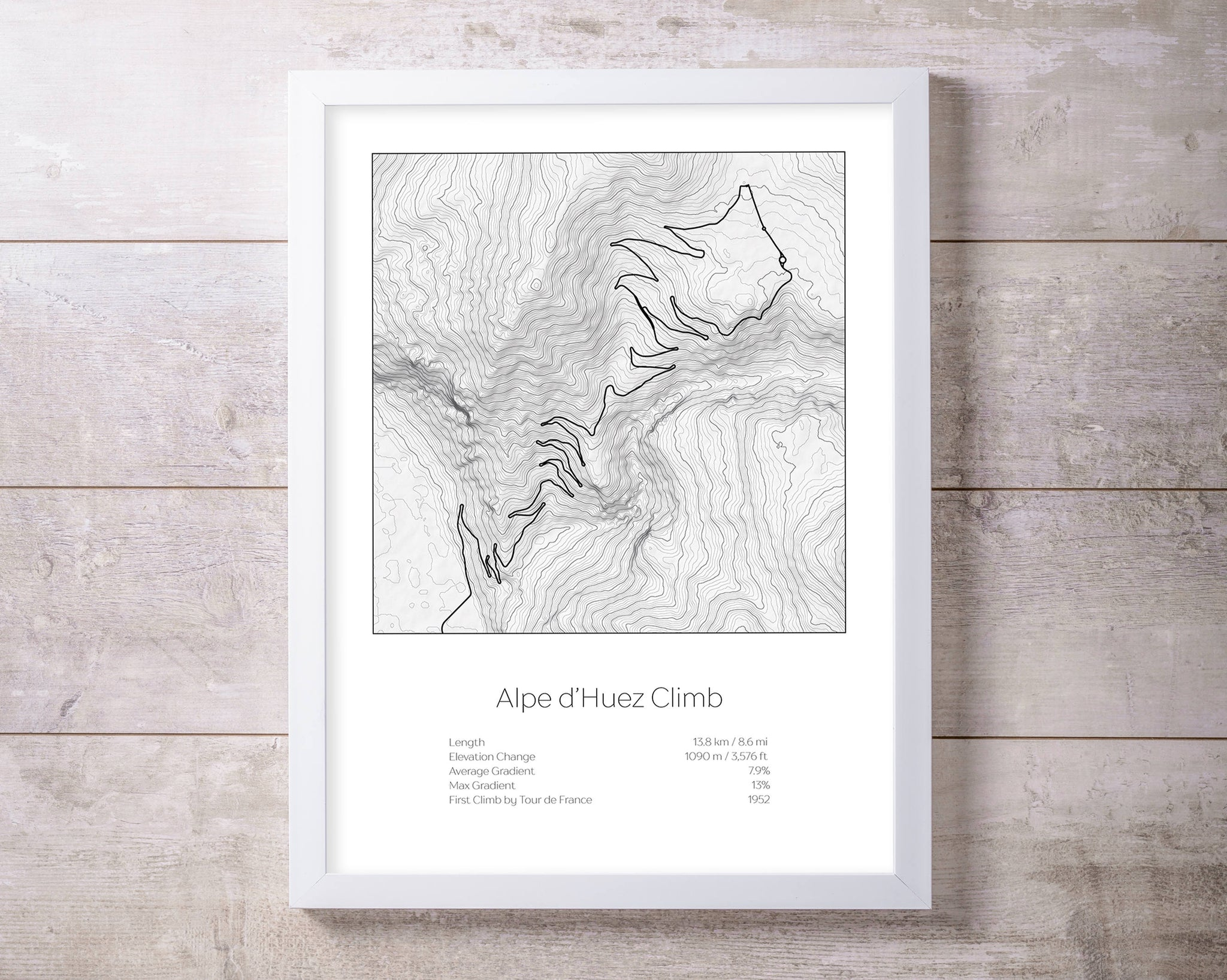 Alpe d'Huez climb, Tour de France Bike raceTopography Elevation Print Wall Art