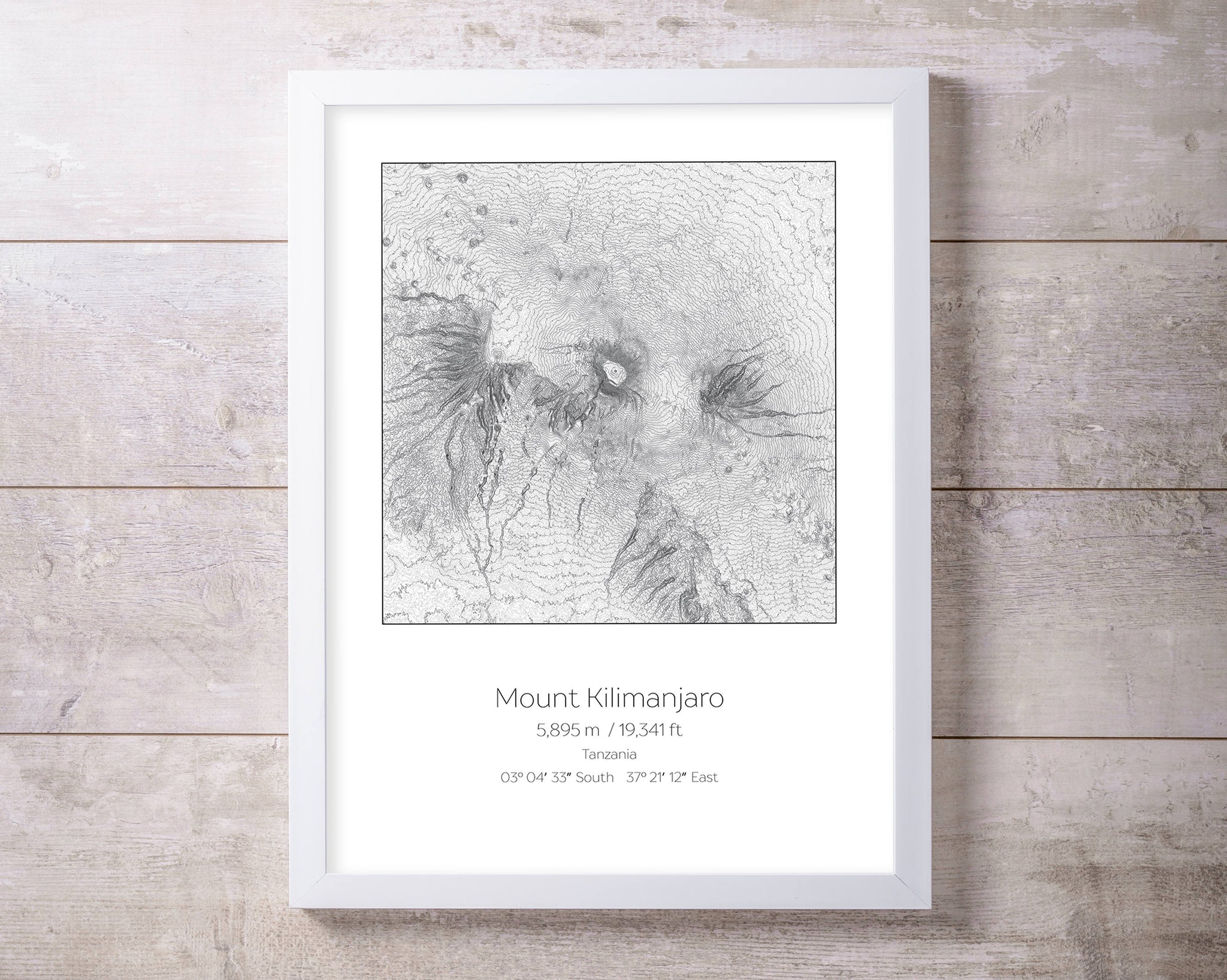 Mt Kilimanjaro, Tanzania Topography Elevation Print Wall Art