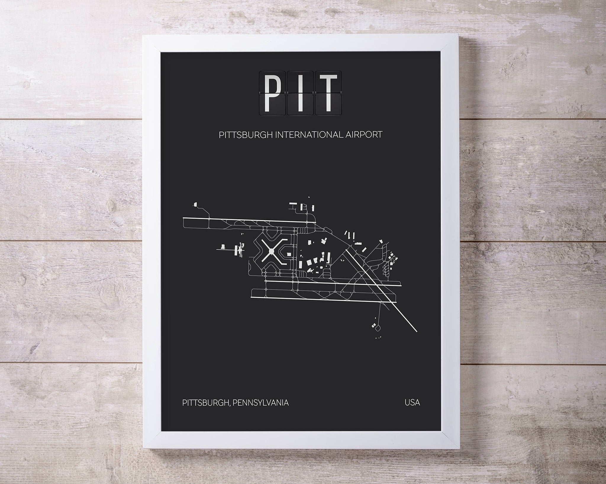 PIT Pittsburgh International Airport Print Map Wall Art