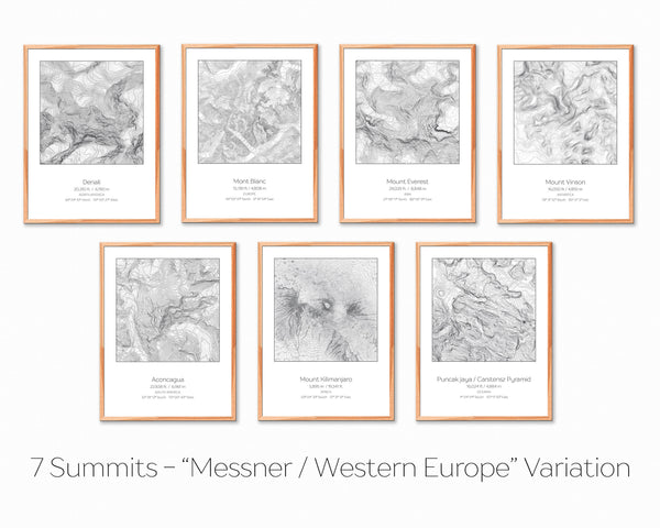7 Summits, Messner / Western Europe Variation - 7 Prints - Topography Elevation Print Wall Art