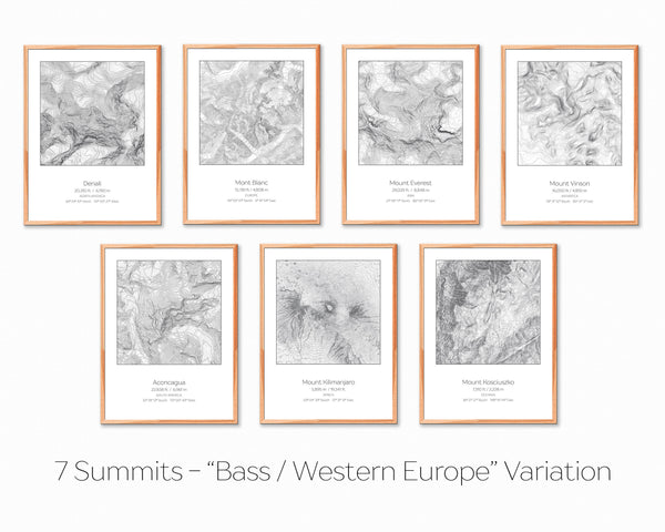 7 Summits, Bass / Western Europe Variation - 7 Prints - Topography Elevation Print Wall Art