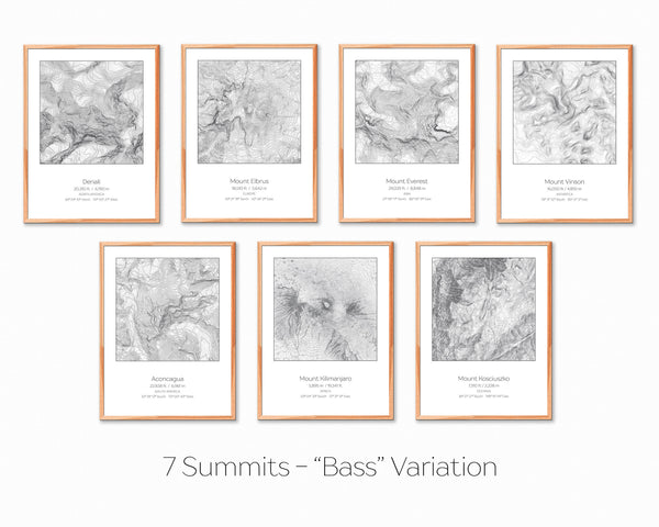 7 Summits, Bass Variation - 7 Prints - Topography Elevation Print Wall Art