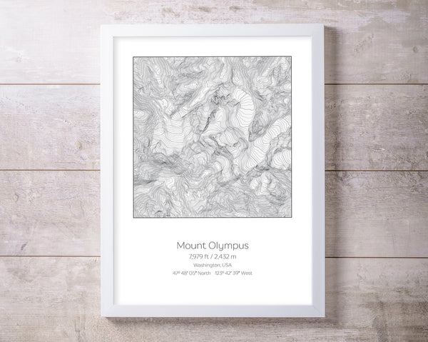 Mt Olympus, Washington USA Olympic National Park Topography Elevation Print Wall Art