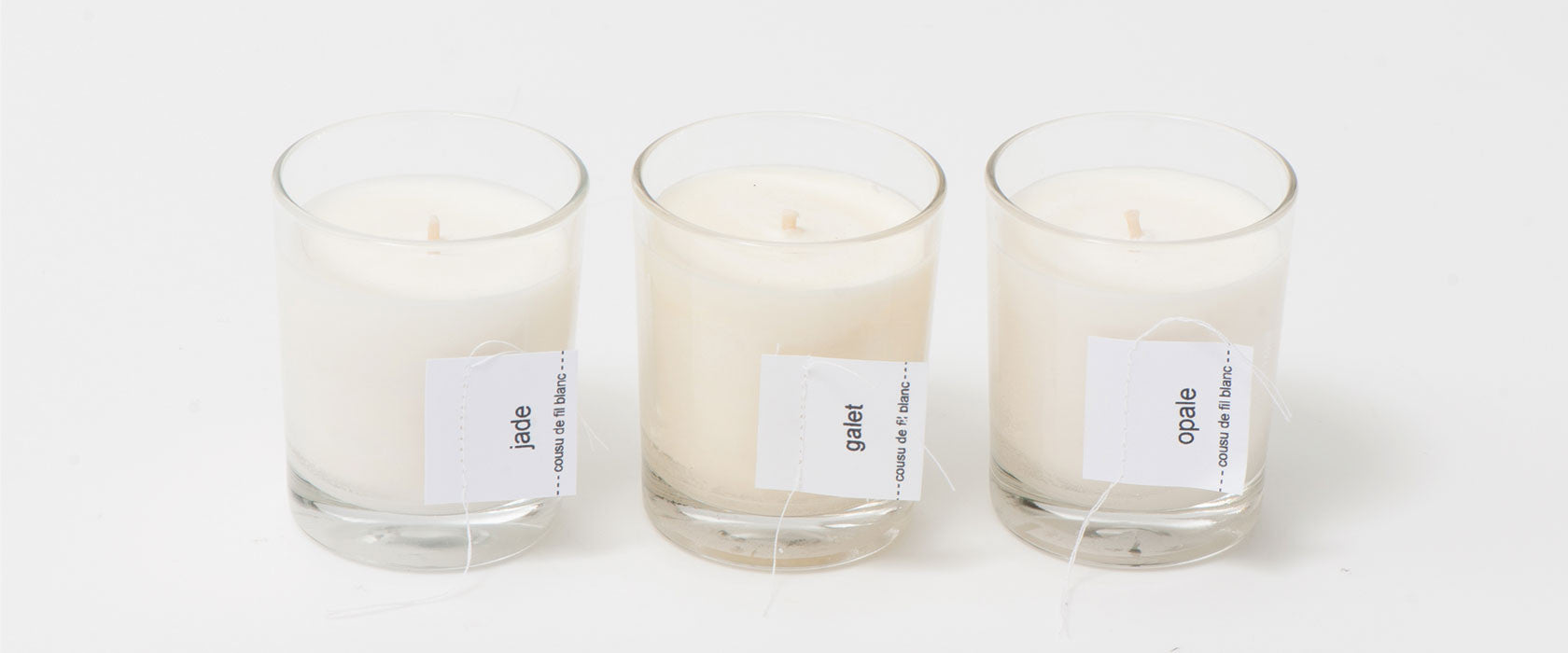 cousu de fil blanc candle stones collection