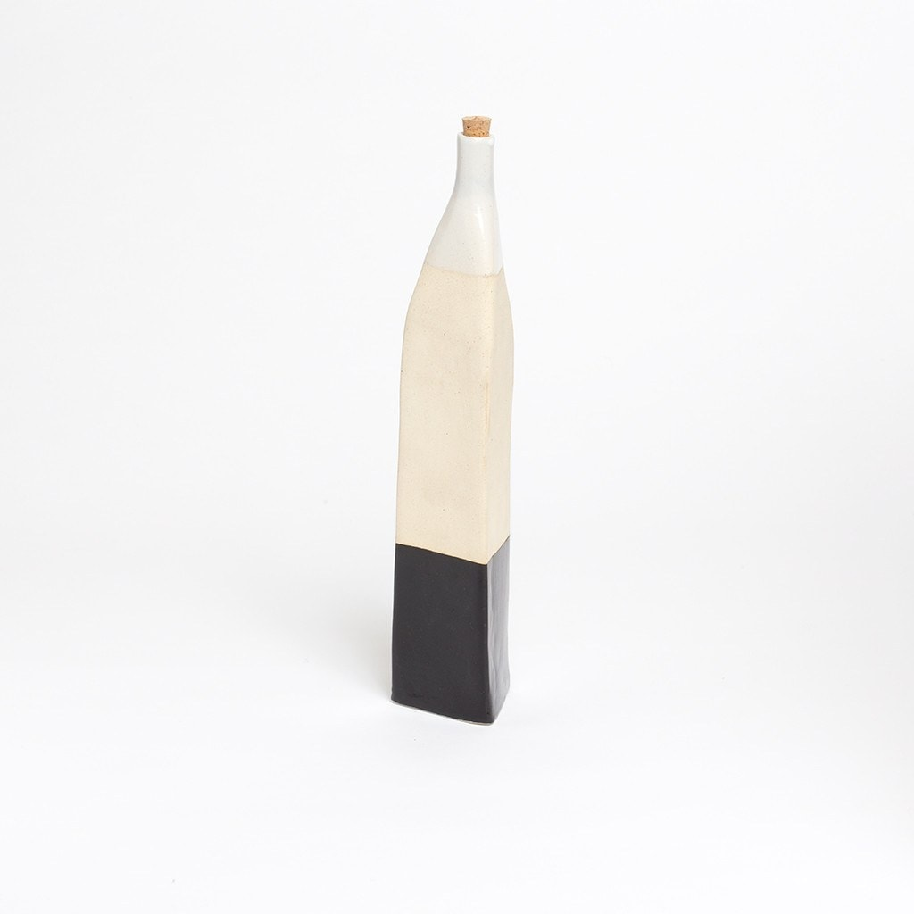 Ceramic Tall Bottle Triangular