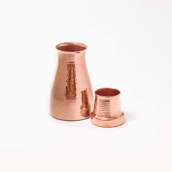 Copper water carafe and tumbler handmade by Coppre