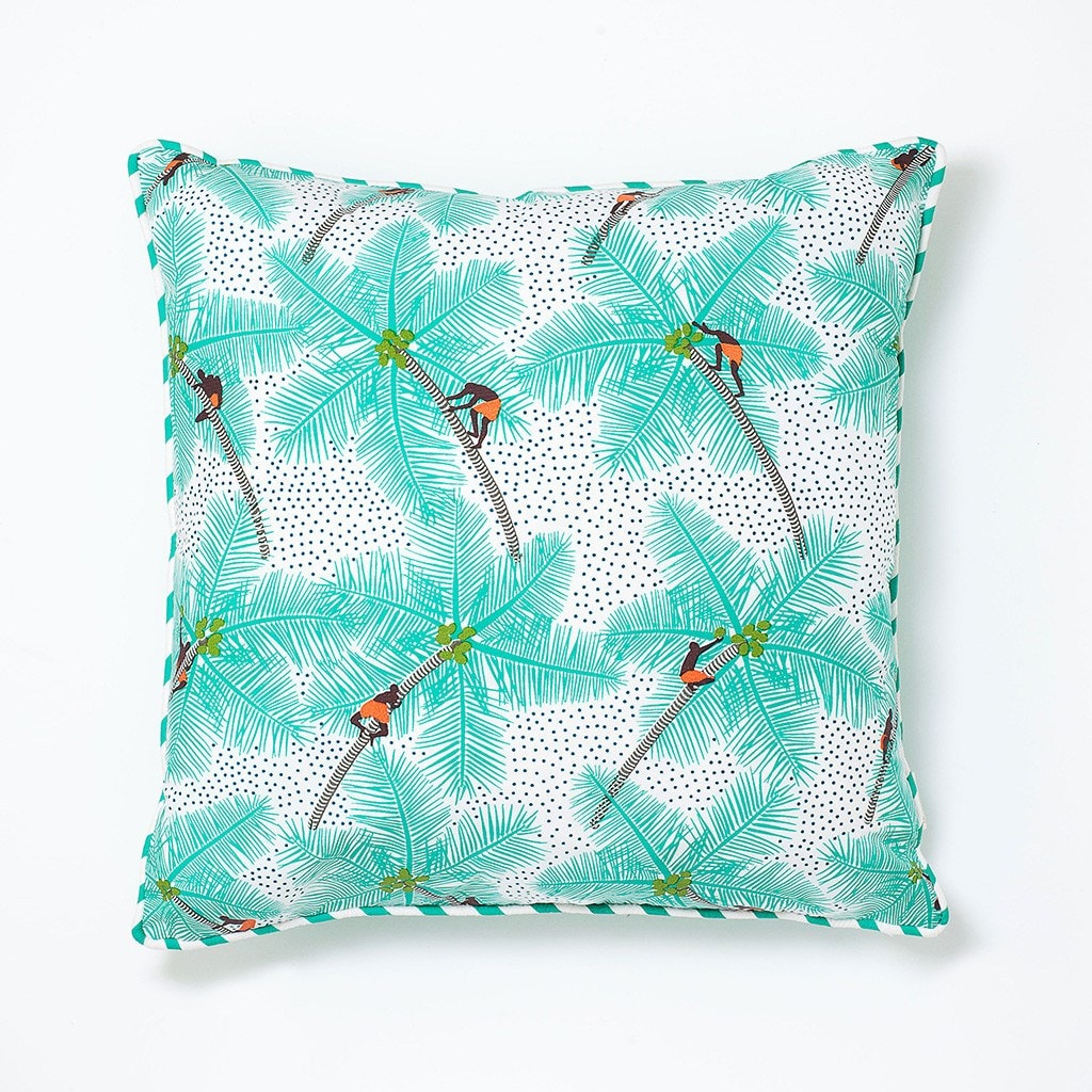 Cushion Mint Coconut Palm Print Safomasi