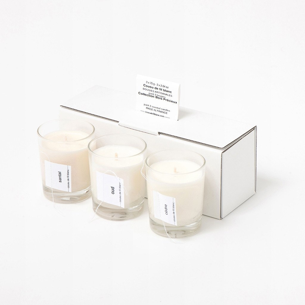 soy candle gift set cousu de fil blanc the precious woods