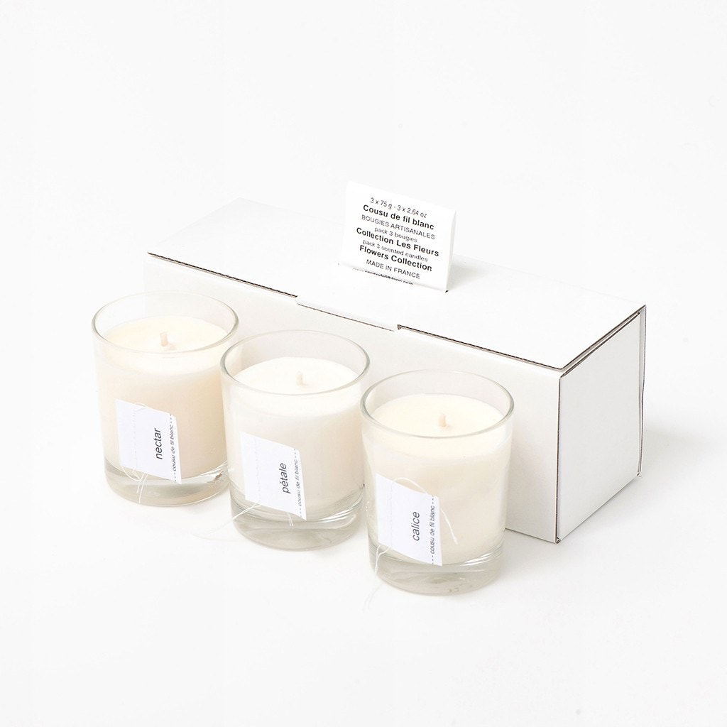 soy candle gift set cousu de fil blanc the flowers les fleurs