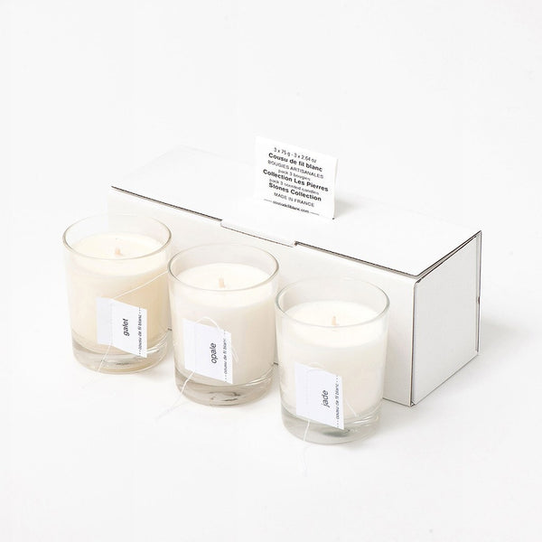 soy candle gift set cousu de fil blanc the stones