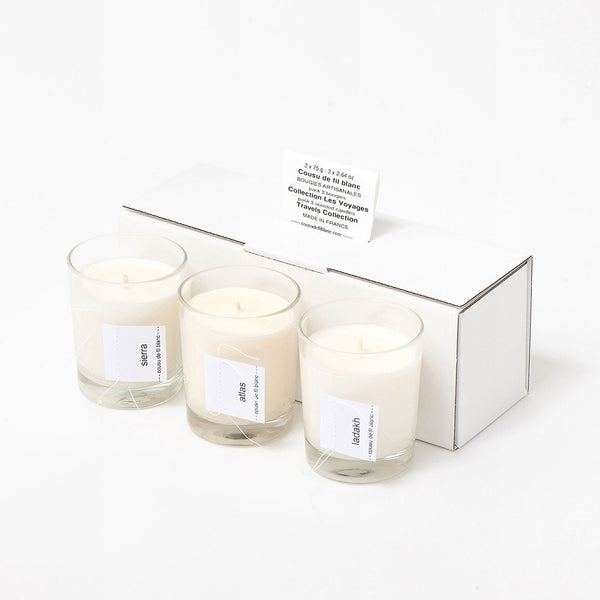 soy candle gift set cousu de fil blanc the travels les fleurs