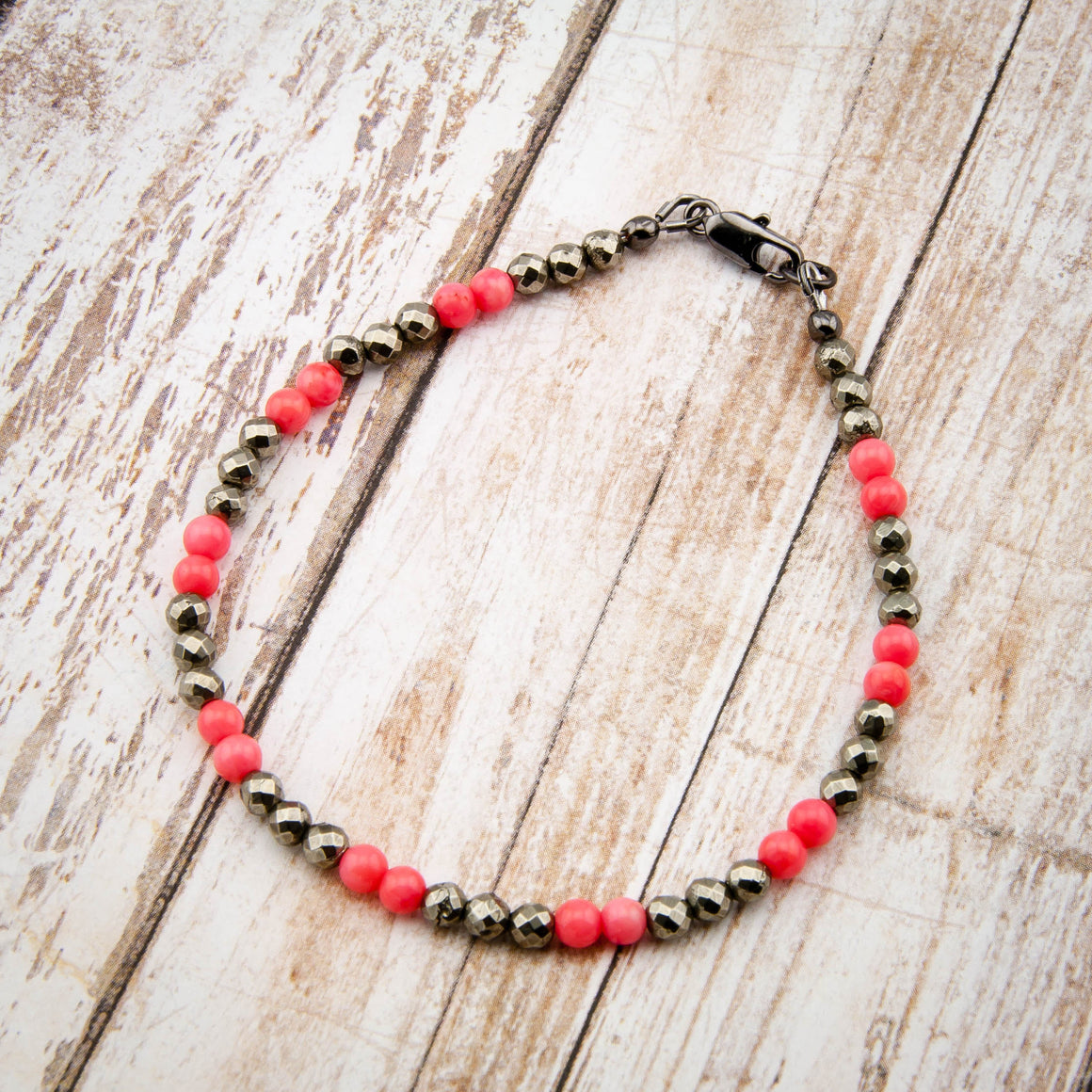 Coral and Pyrite Bracelet