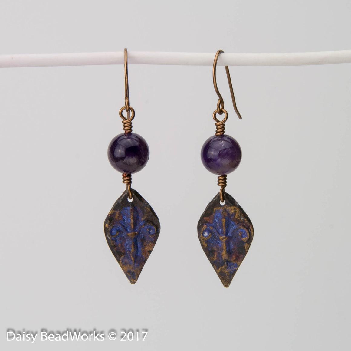 Amethyst Fleur di lis Earrings