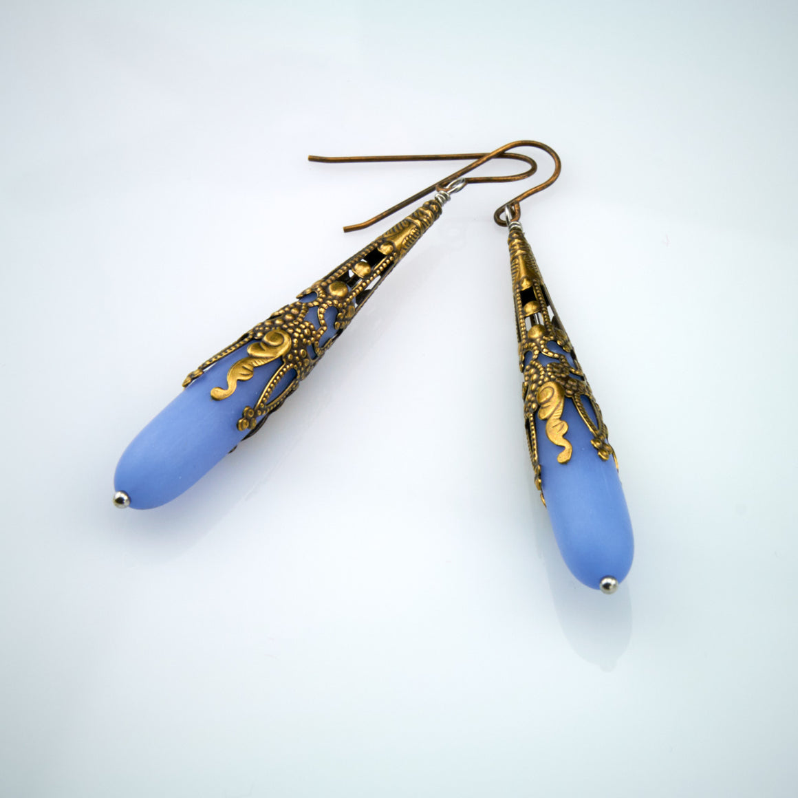 Baroque Ocean Blue Sea Glass Dangles