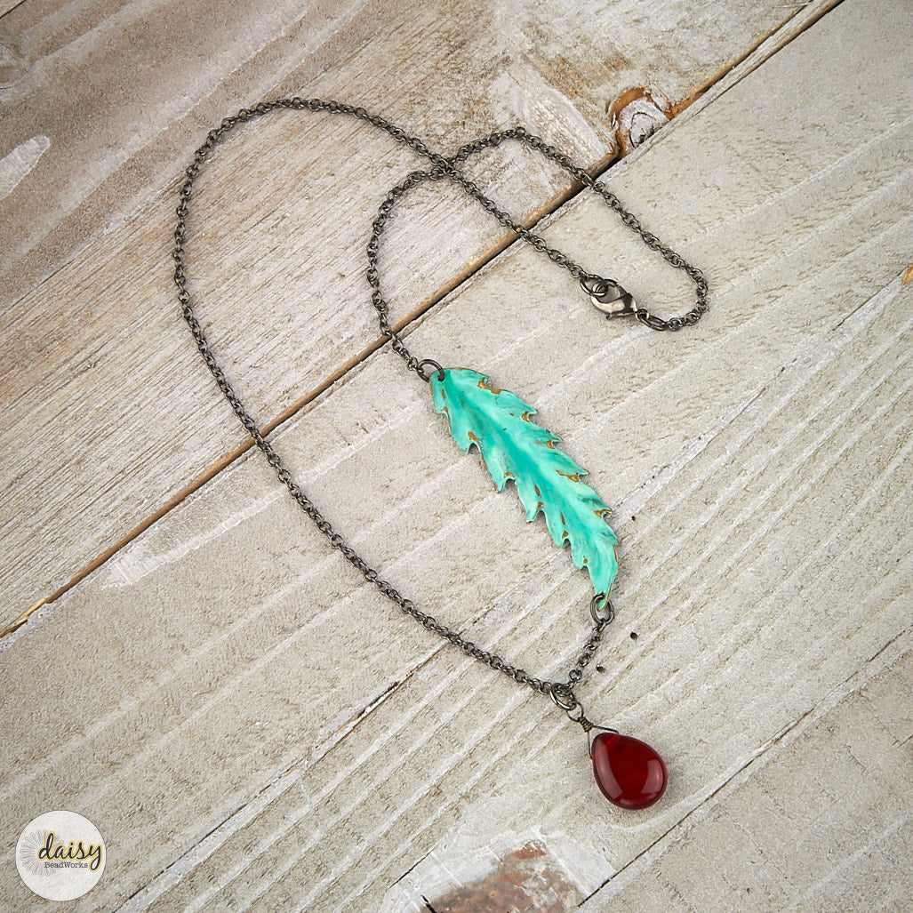 Aqua Feather Necklace