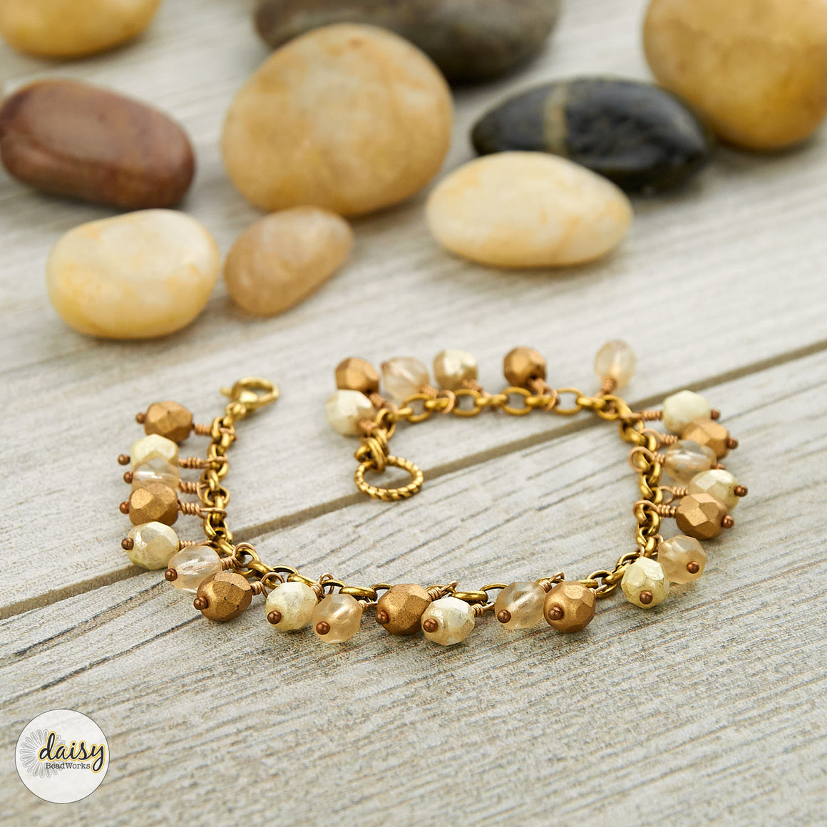 Gold and Cream Drop Bracelet