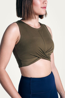 Olive Knotted Crop