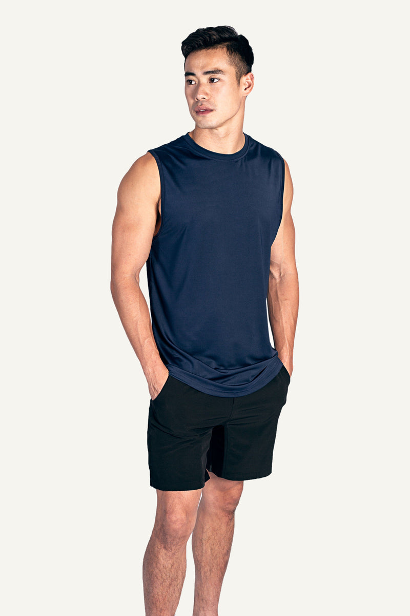 Navy Male Curved Hem Tank