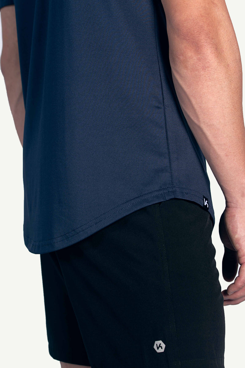 Navy Male Curved Hem Tee