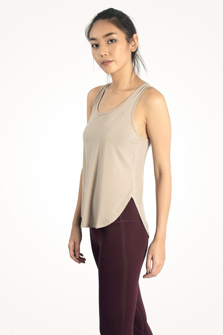 Light Sand Curved Hem Tank