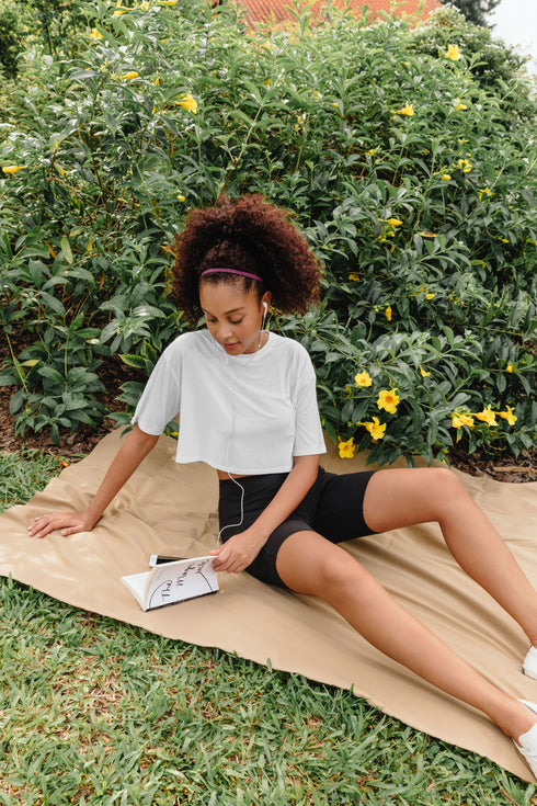 Odessa Crop Tee in White and Kyro 7 inch Pocket Shorts in Black