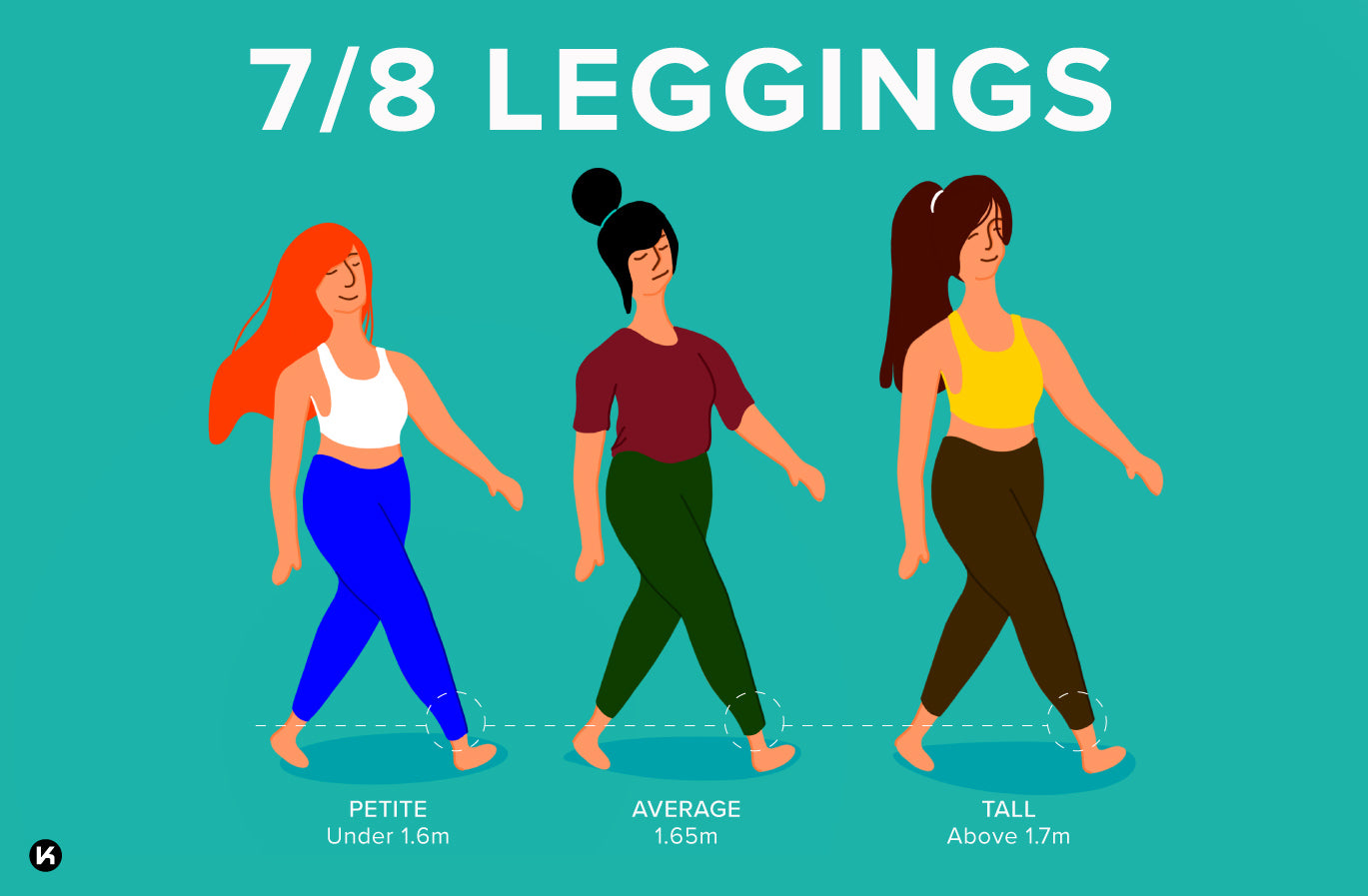 How 7/8 leggings look on different heights