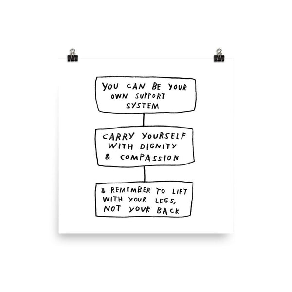 Carry Yourself Print 12×12 / White ADAMJK