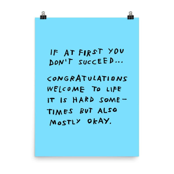 If At First You Don't Succeed Print 18×24 / Blue ADAMJK