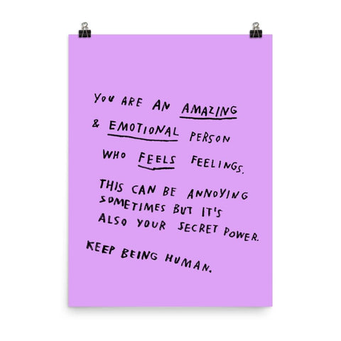 Keep Being Human Print 18x24 / Purple ADAMJK