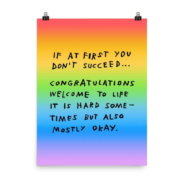If At First You Don't Succeed Print 18×24 / Rainbow ADAMJK