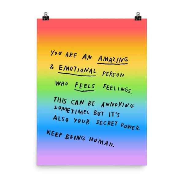 Keep Being Human Print 18x24 / Rainbow ADAMJK