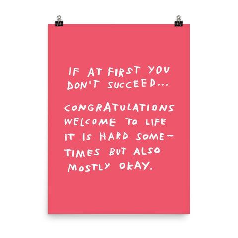 If At First You Don't Succeed Print 18×24 / Red ADAMJK