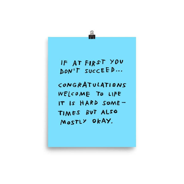 If At First You Don't Succeed Print 8×10 / Blue ADAMJK