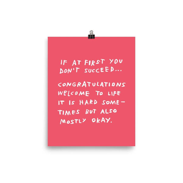 If At First You Don't Succeed Print 8×10 / Red ADAMJK