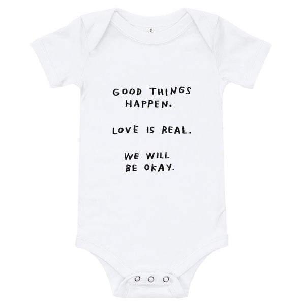 Good Things Happen Onesie White / 3-6m ADAMJK
