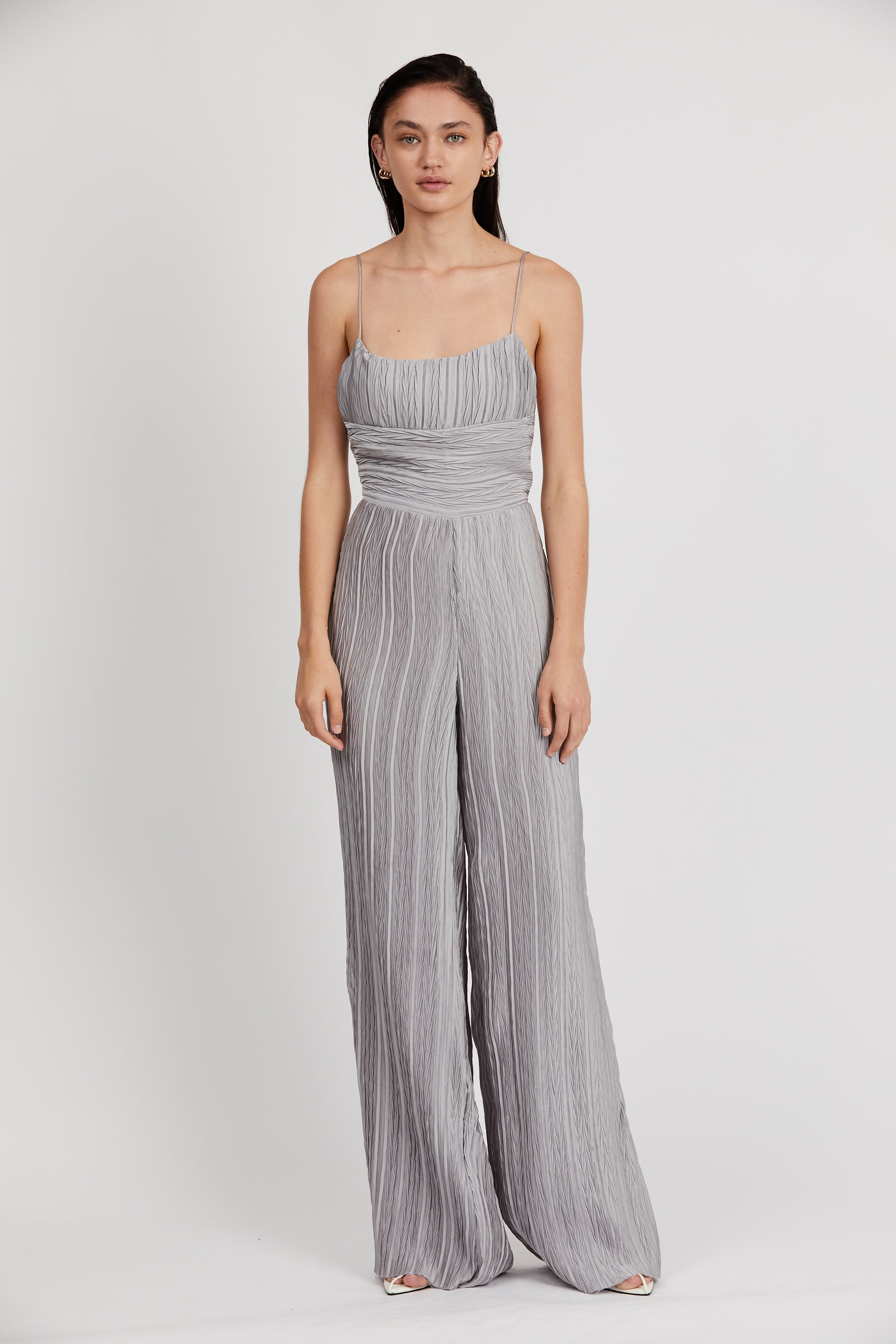 RIPPLE PLEAT JUMPSUIT | SILVER