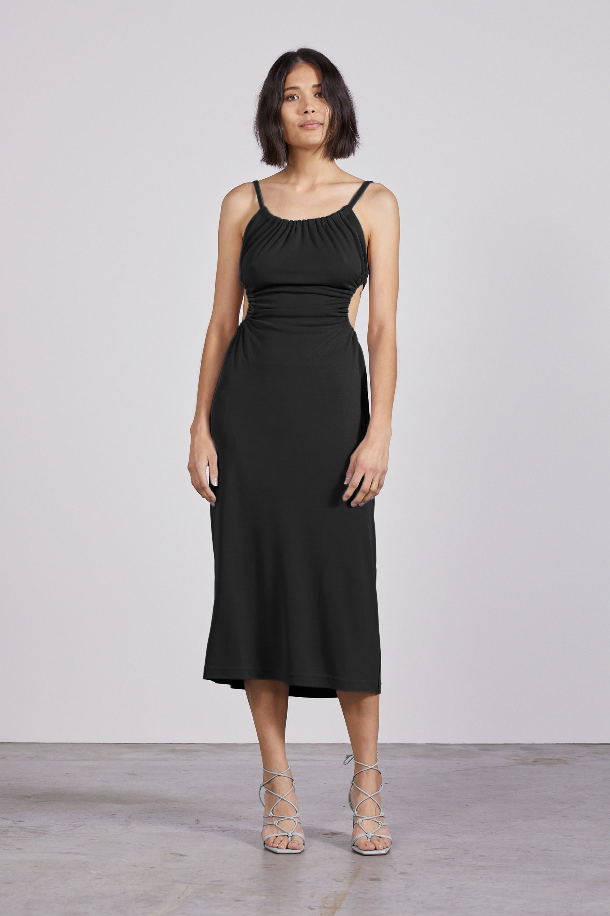 PULL IN MIDI DRESS | BLACK | pre-order