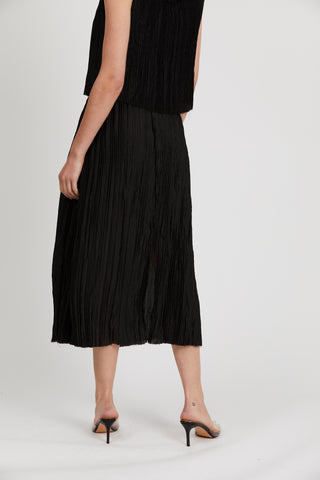 RIPPLE PLEAT MIDI SKIRT | BLACK